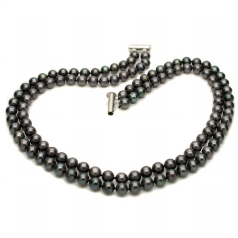 Pearl Choker Necklace Black Double Strand Sterling Silver